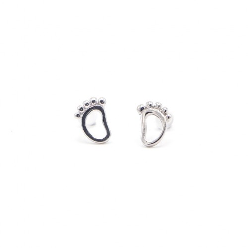 925純銀 耳環 足印