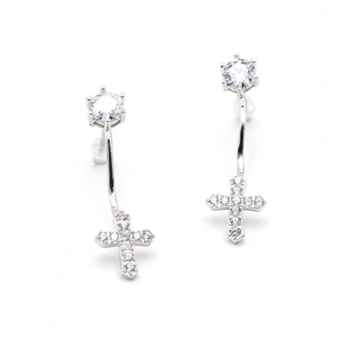 925 Silver Cross Ear Rings
